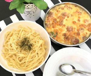 fettuccine-with-baked-carbonara-meatball-cheese