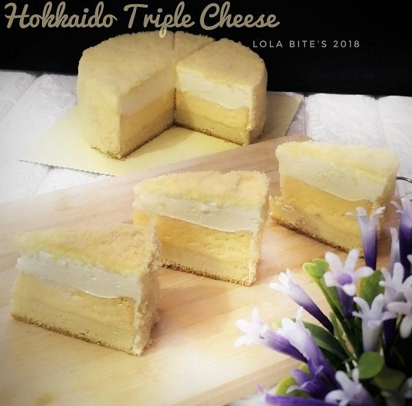 resepi-hokkaido-triple-cheese-cake