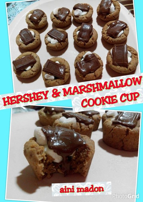 Resepi Hershey & Marshmallow Cookie Cup
