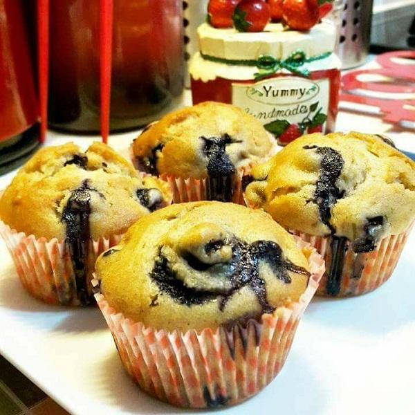 resepi-sour-cream-blueberry-muffins