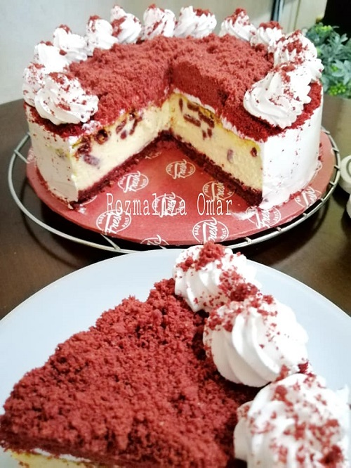 Resepi Red Velvet Oreo Cheese Cake
