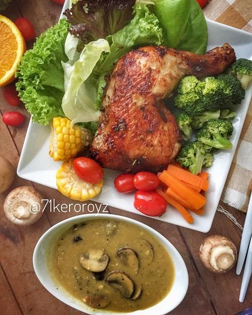 Resepi Ayam Panggang dengan Sos Cendawan