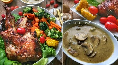 resepi-ayam-panggang-dengan-sos-cendawan