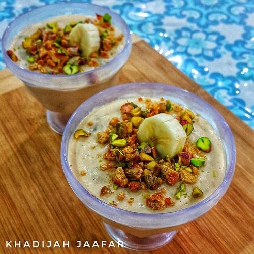 resepi-puding-pisang-dengan-pistachio-dan-oat